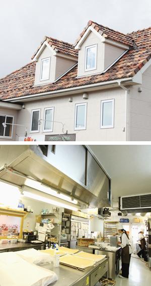 三角屋根の屋根裏部屋と厨房